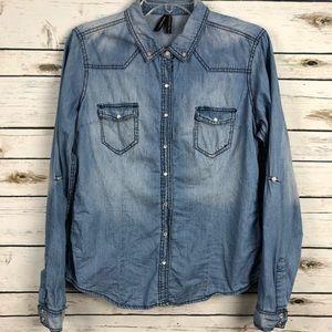 Highway Jeans Ladies Large distressed denim shirt